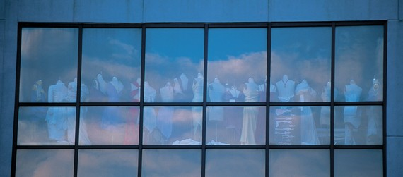 The north-wall windows of the Aronoff Center offers a glimpse inside DAAP's fashion-design studio.