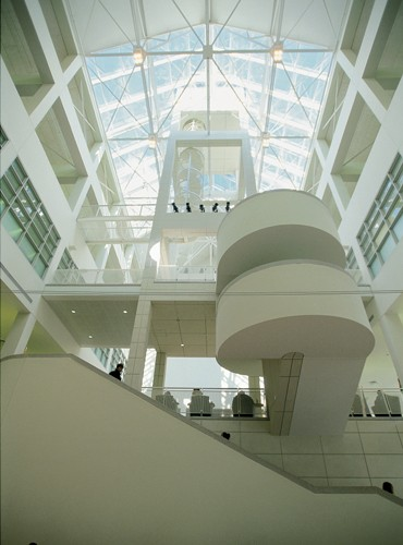 Inside Tangeman University Center is a light-filled three-story atrium that supports the historic clock tower and illuminates the hub of the student union.