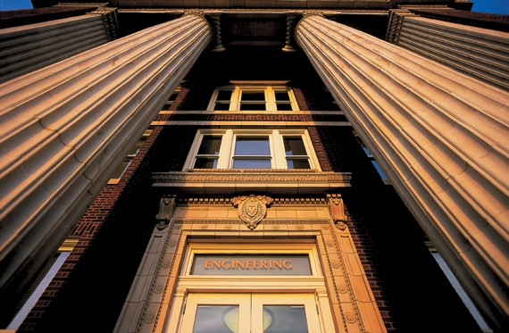 The portico of Baldwin Hall, UC's oldest surviving classroom building, has been welcoming students since 1911. The Steger Center was designed by Moore Ruble Yudell Architects and Planners.