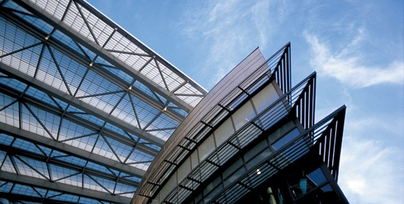 The stark geometry of the Steger building captures the attention of many who pass.