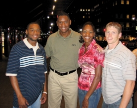 It was a Bearcat reunion in the summer of 2007 for these former UC runners who met upduring the New York Grand Prix. From the left are hurdler David Payne, att. '04; veteran sports announcer Lewis Johnson, Univ. '86; sprinter Mary Wineberg, Ed '02; and former decathlete Chris Wineberg, Eng '04.