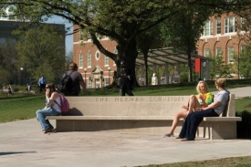 James Donnelly, DAAP '52, designed both the bench and the original Herman Schneider plaza. As part of the centennial of co-op education, the university will conduct a formal rededication of the 50-year-old bench and an expanded plaza.