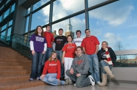 UC students who served as campus tour guides in the 2006-07 academic year include (back row, from left) Jessica King, CJ Bossart, Nate Brown, Kristen Chuang, Andrew Jarrel, Jared Blackmore, Natasia Moose, (front row, from left) Jen Biller and Nathan Standeford.