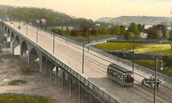 An early 20th century postcard presents an idealized picture of the Ludlow Viaduct, built in 1914 as a direct route for traffic between Knowlton's Corner in Northside and Ludlow Avenue in Clifton.