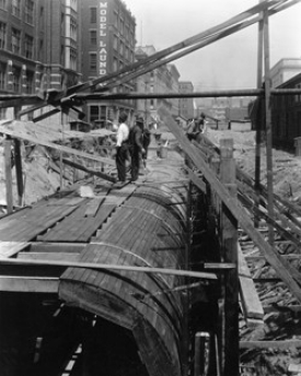 UC co-ops helped build the first phase of Cincinnati's subway project.   photo/courtesy of UC Archives and Rare Books