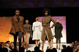 Models exhibit the work of fashion design students from UC's College of Design, Architecture, Art, and Planning