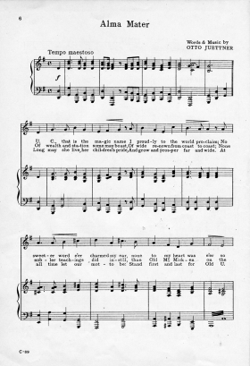 Image of sheet music of the University of Cincinnati alma mater song