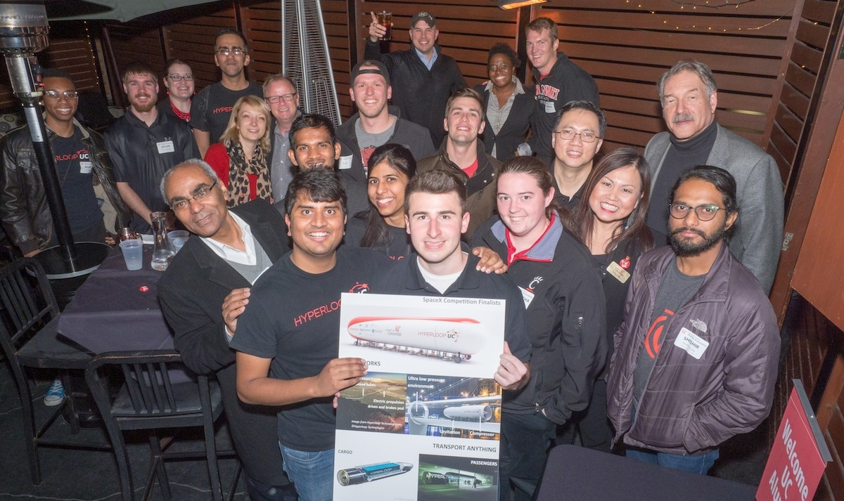 Hyperloop UC team with supporters and LA UC graduates